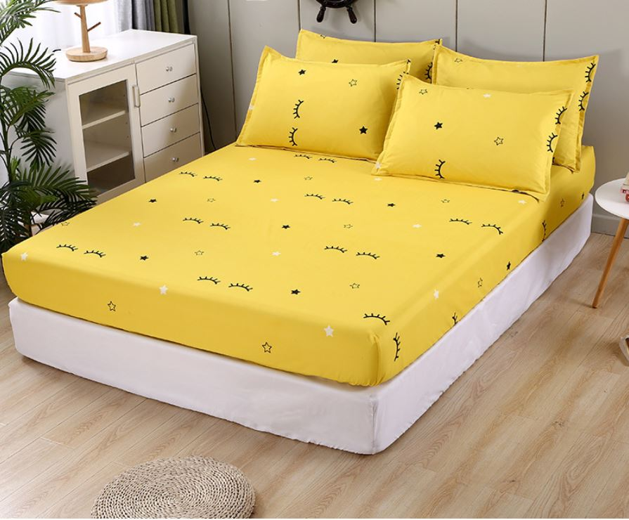 Yellow lash bed Cover Fitted sheet 180*200*25cm=71*79*10in