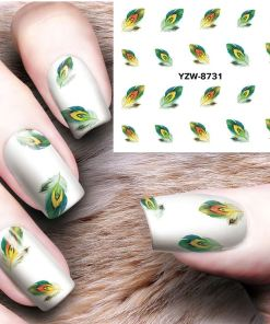 Water transfer Nail art stickers - Feathers