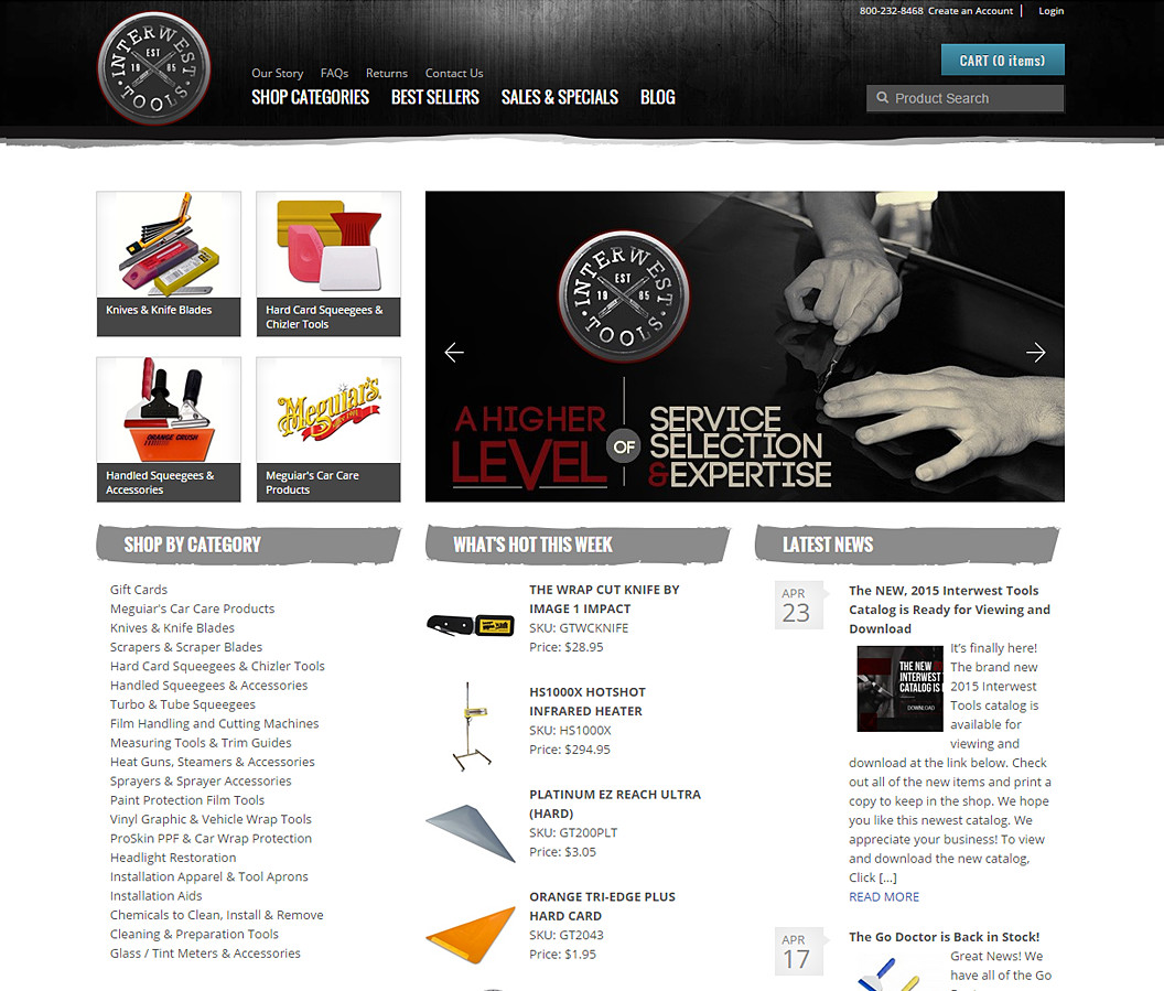 Website Design for Interwest Tools