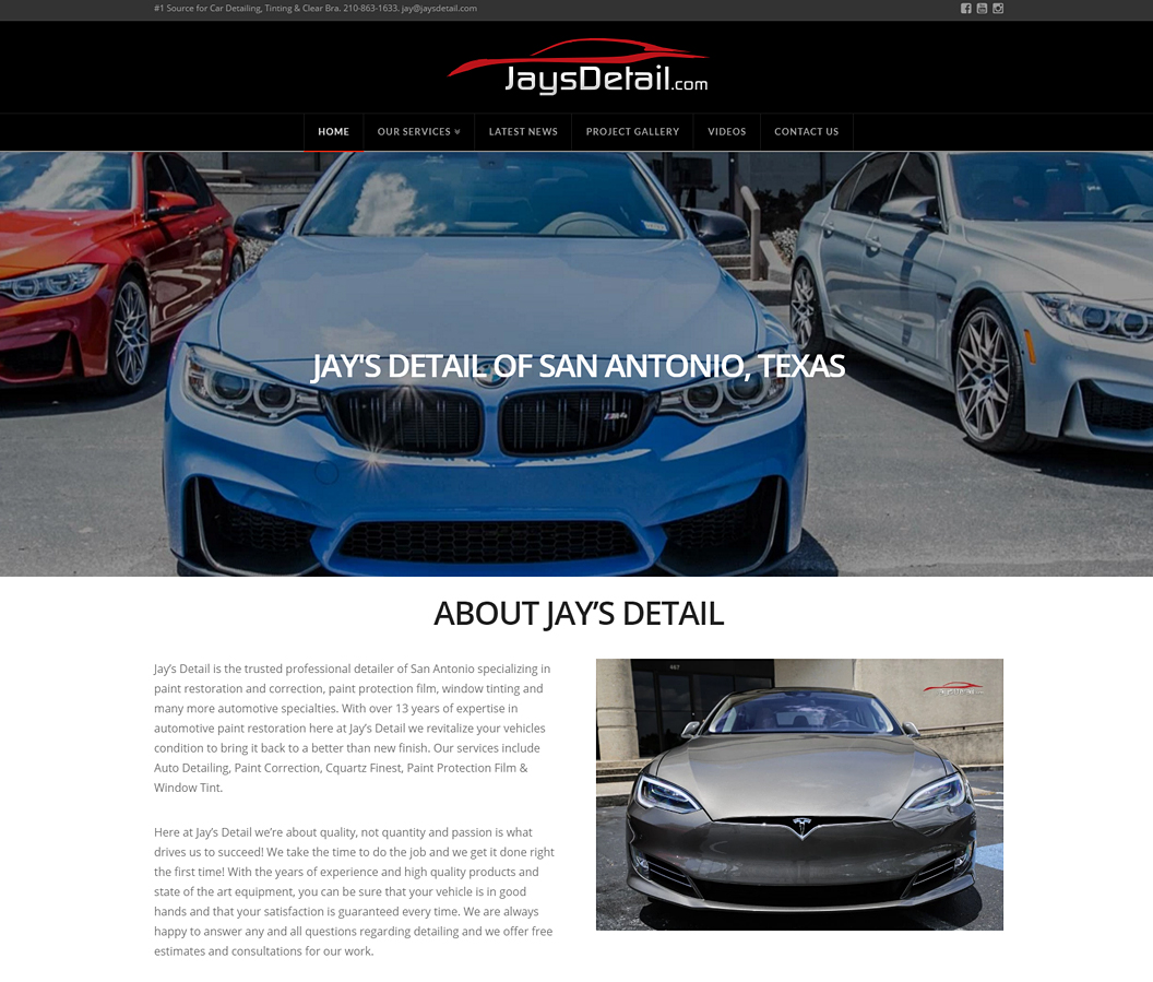 Jay's Detail Website Created by Eye Magnet Managment