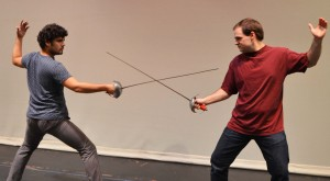 "Miguel Valarino of Glen Burnie, left, as La Chevalier Danceny and Erik Alexis of Millersville as Le Vicomte de Valmont get stage combat training as they rehearse for a dueling scene in ""Les Liaisons Dangereuses,"" a play by Christopher Hampton showing Nov. 7-8 and 13-15 at 8 p.m. and Nov. 9 and 16 at 2 p.m., in the Robert E. Kauffman Theater in the Pascal Center for Performing Arts on AACC's Arnold campus, 101 College Parkway.Tickets are $15 general admission, $10 AACC faculty and staff, senior citizens, active military, groups and other students and $5 for AACC students with valid ID. For tickets, contact the box office at 410-777-2457 or boxoffice@aacc.edu. AACC will stage ""The Phantom of the Opera"" April 16-25."
