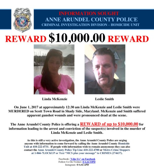 anne arundel county police offer reward in shady side double murder
