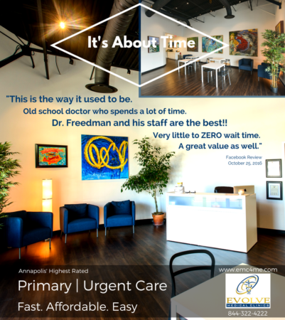 Evolve Direct Primary Care is Maryland's first Direct Primary Care and provides the Highest Rated Primary Care and Urgent Care to Annapolis, Edgewater, Crownsville, Severna Park, Arnold, Davidsonville, Gambrills, Crofton, Bowie, Pasadena and Glen Burnie.