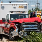 Stolen ambulance wrecks in front of firehouse on Forest Drive