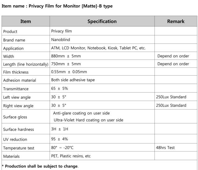 Privacy B Spec for Monitor