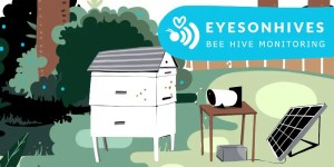 Eyesonhives feature graphic showing Scout B beehive monitor, solar panel and beehive