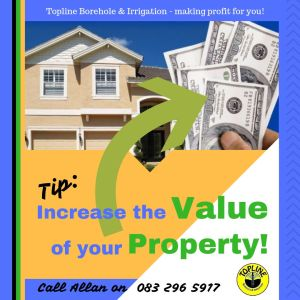 House and a hand holding money to advertise that boreholes increase the value of your property