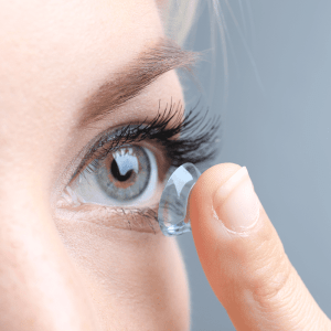 Contacts being put in eyes