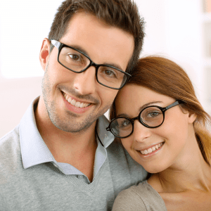 Couple with black glasses