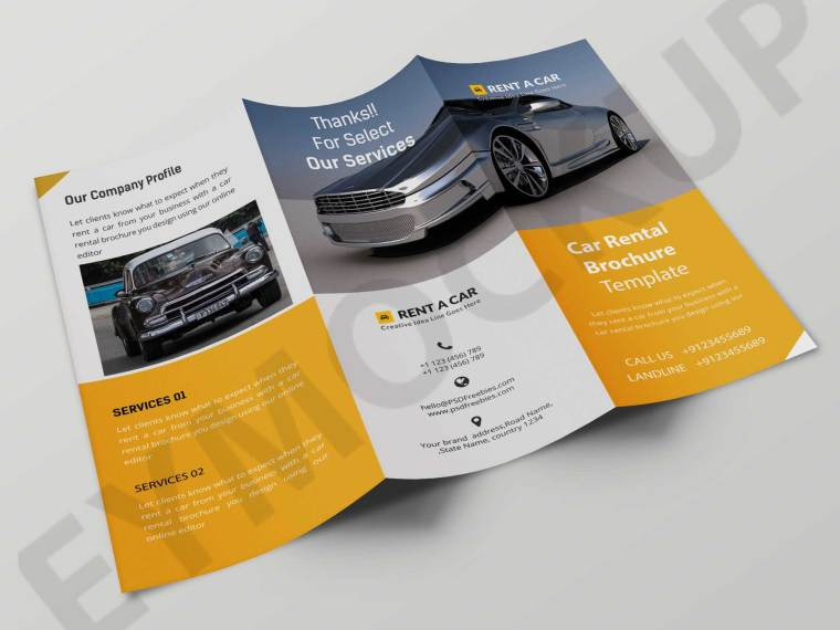 Awesome Tri-Fold Car Showroom Brochure Template