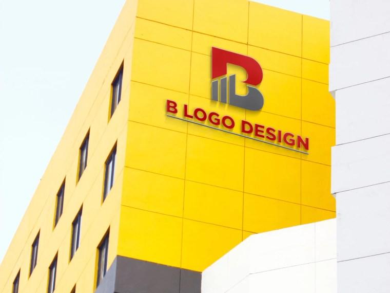 3D Logo Building Mockup Template
