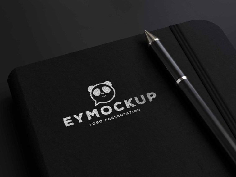 Notebook Pen Silver Logo Mockup