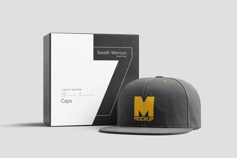 Branding Cap With Packaging Mockup