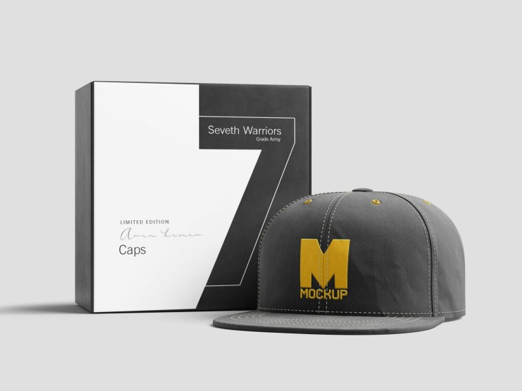 Branding Cap With Packaging Mockup