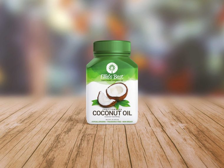 New Green Coconut Oil Bottle Mockup