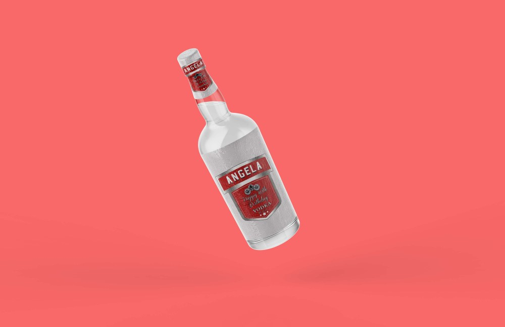Transparent Vodka Wine Bottle Mockup