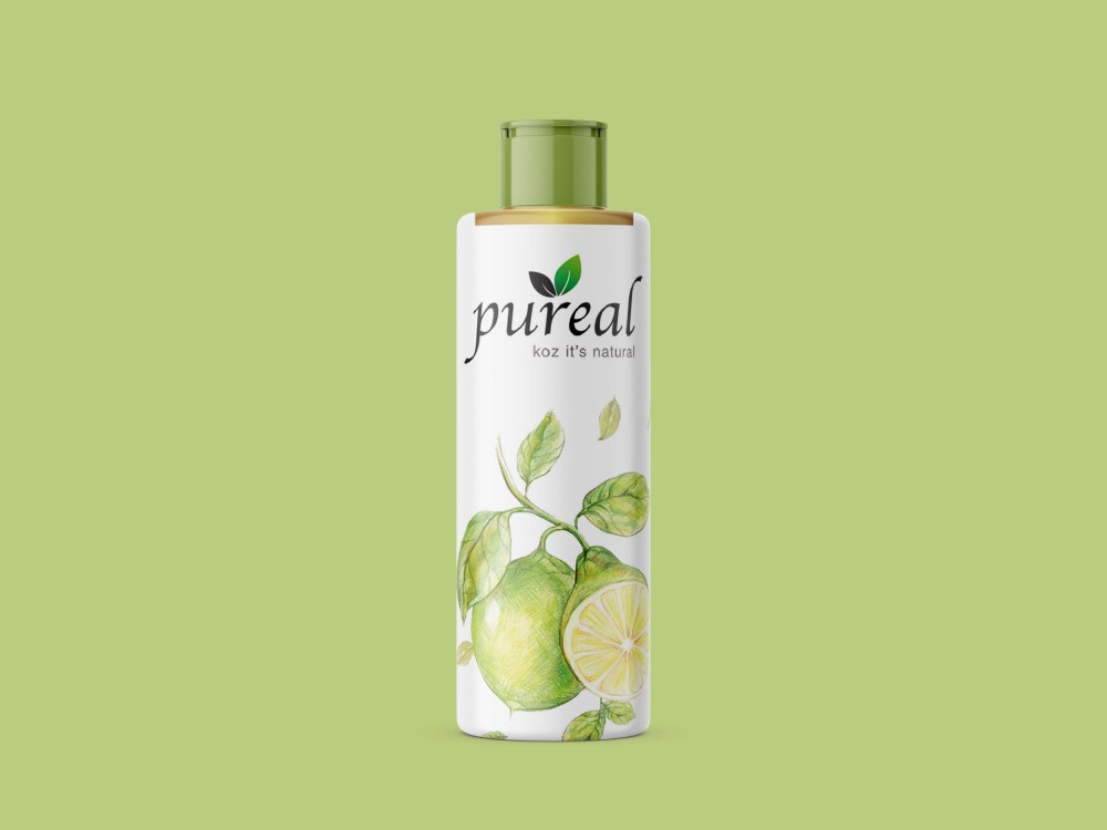 Pure Real Green Oil Bottle Mockup