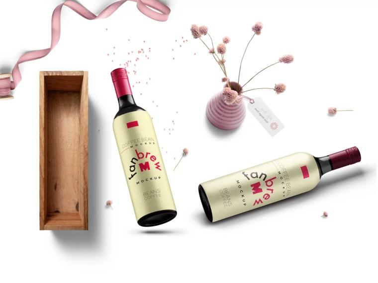 New Premium Wine Bottle Label Mockup