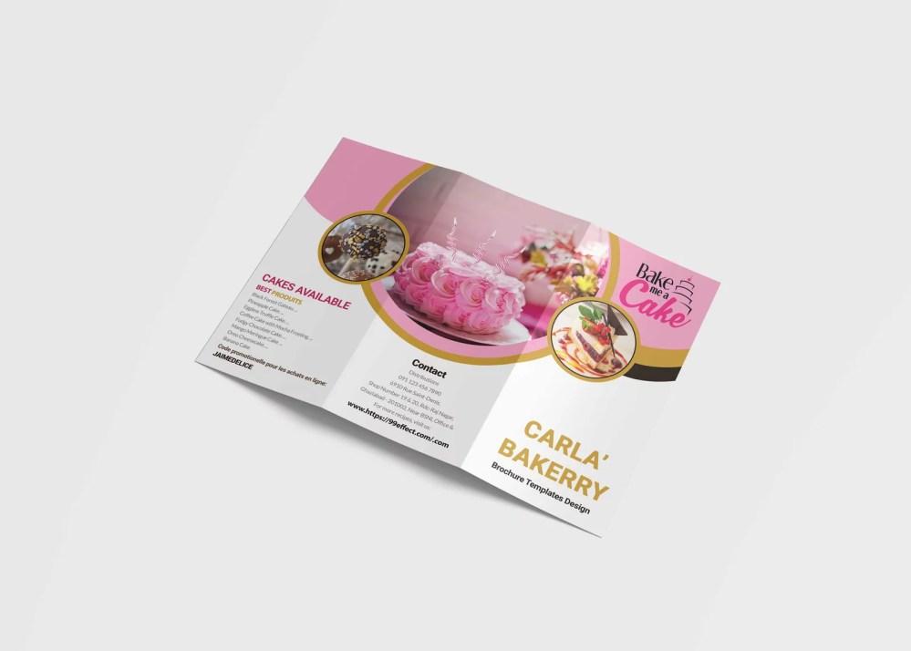Premium PSD Bakery Shop Tri Fold Brochure Mockup