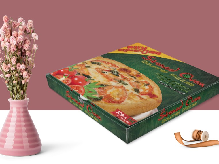 Premium Pizza Box Packaging Label Mockup