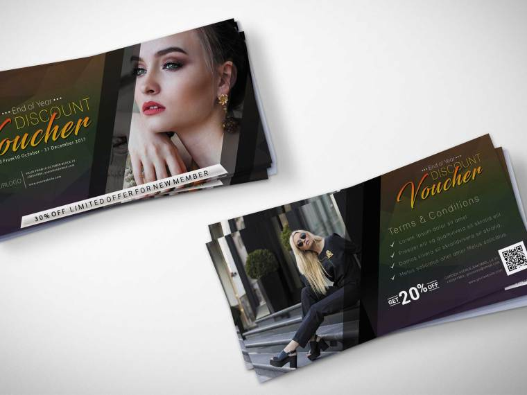 Beautiful Gift Voucher Mockup PSD