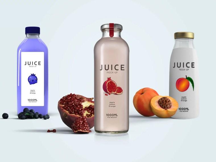 Plastic Juice Bottle Label Mockup