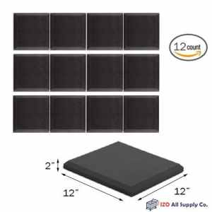 (12 Pk) 2x12x12 Soundproofing Foam Acoustic Bevel Tiles Studio Foam Sound Wedges