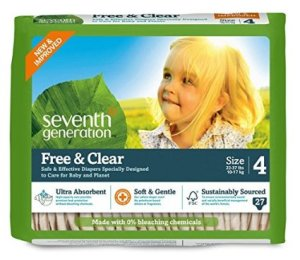 Seventh Generation Free and Clear Sensitive Skin Baby Diapers, Original Unprinted, Size 4, 135 Count