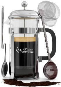 French Press Coffee & Tea Maker Complete Bundle 8-Cups, 34 Oz Best Coffee Press Pot with Stainless Steel & Heat Resistant Glass
