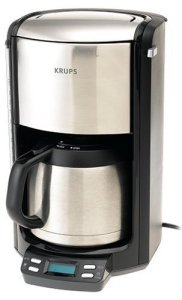 KRUPS FMF5 Programmable Coffee Maker with Double Wall Thermal Carafe and LED control panel, 10-Cup, Black