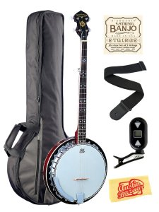 Oscar Schmidt OB5 5-String Banjo Bundle with Gig Bag, Clip-On Tuner, Strings, Strap, and Polishing Cloth