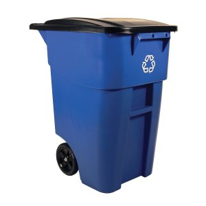 Rubbermaid Commercial FG9W2773BLUE BRUTE Heavy-Duty Rollout WasteUtility Container, 50-gallon with Recycling Logo, Blue