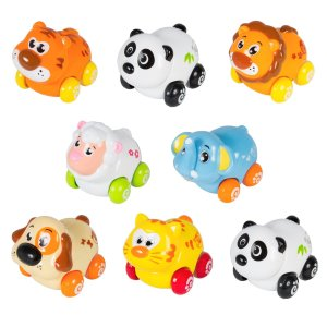 Cartoon Animals Friction Push and Go Toy Cars Play Set for Baby