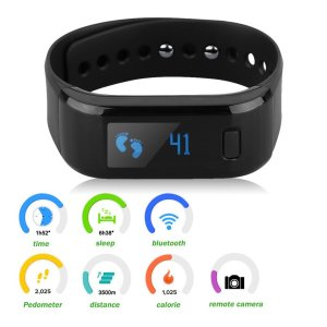 Excelvan All-in-One OLED Smart Healthy Bracelet IP67 Waterproof Bluetooth Pedometer Tracking Calorie Sleep Monitor Call Reminder Remote Capture Wristband for Android IOS Cellphones (Black)
