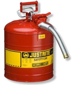 Justrite 7250130 Galvanized Steel, AccuFlow Type II Red Safety Can with 1 Flexible Spout