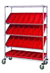 Quantum Storage Systems WRCSL5-63-1848-104RD 5-Tier Slanted Wire Shelving Suture Cart with 28 QSB104 Red Economy Shelf Bins