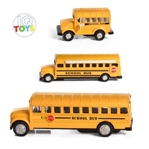 Set of 3 School Buses Pull Back action in a gift box