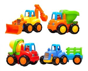 Set of 4 Cartoon Friction Powered Play Vehicles for Toddlers