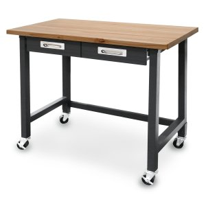 Seville Classics UltraGraphite Commercial Heavy-Duty Wood Top Workbench with Drawers on Wheels