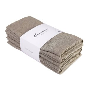 100% linen napkins. Set of natural grey napkins handcrafted from eco-friendly pure linen fabric. Perfect for lunch and dinner. 6-Pack, 17x17 Inch.
