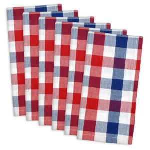DII 100% Cotton, Oversized Basic Everyday 20x20 Napkin Set of 6, Red , White & Blue Check