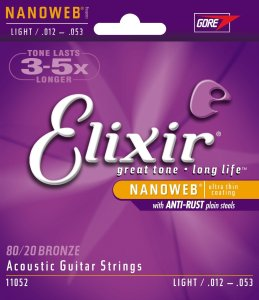 Elixir Strings 8020 Bronze Acoustic Guitar Strings w NANOWEB Coating, Light (.012-.053)