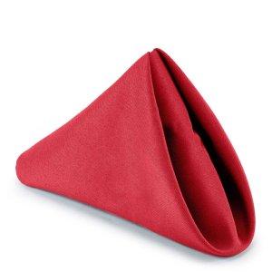 Lann's Linens - 1 Dozen 17 in. Cloth Dinner Napkins w Hemmed Edges - Red