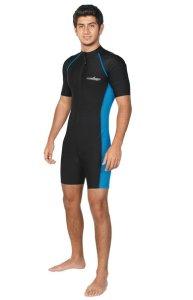 Men Sun Protective One Piece Sunsuit Swimwear Short Sleeves Chlorine Resistant UPF50