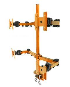 MonMount Quad LCD Stand Desk Clamp Holds Upto 4 27 LCD Monitors, Orange (LCD-2020O)