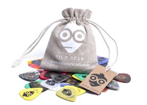 Pick Geek Guitar Picks, 51 Premium Picks (Plectrums) For Your Electric, Acoustic, or Bass Guitar - Heavy, Medium, Light - Gifted in a Unique Pick Bag