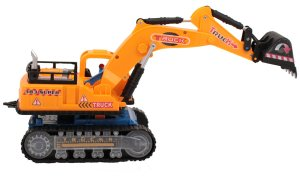 Techege Battery Powered Excavator Construction Toy- Flashing Lights, Music, Moves Around on Its Own and Changes Directions When It Touches Something - Great Gift Idea Sure to Keep Kids Entertained for Hours