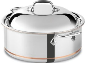 All-Clad 650618 SS Copper Core 5-Ply Bonded Dishwasher Safe Round RoasterCookware, 6-Quart, Silver