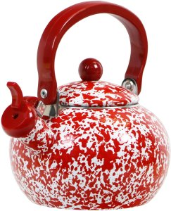 Calypso Basics Whistling Marble Teakettle, 2 quart, Red