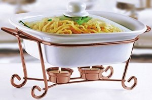 Circleware Ceramic Cookware Chafer Buffet Serverwarmerbaker Serving Tray with Glass Lid and Copper Serving Stand, 1.5 Quart, 10 W x 8.5 D x 5 H, Limited Edition Serveware Cookware Bakeware
